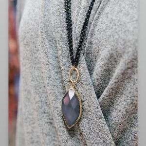 The Rebecca Necklace-faceted stone w/ thread chain